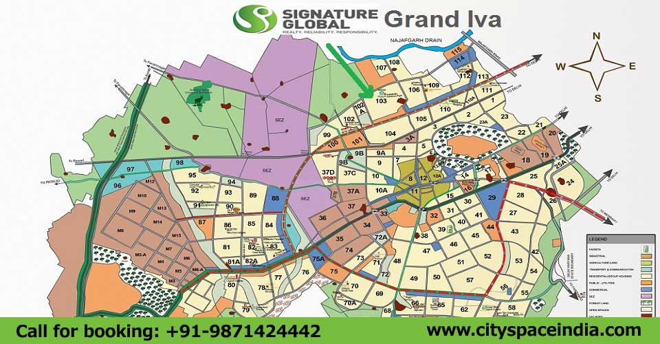 Check Signature Global Grand Iva Sector 103 Gurgaon Location Map