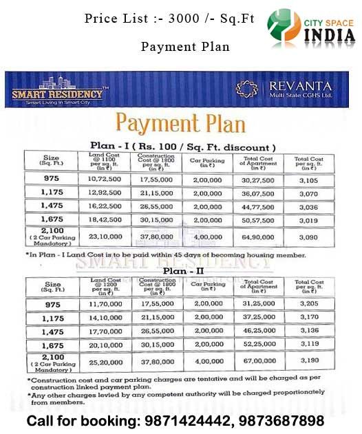 Revanta Smart City Price List/Payment Plan