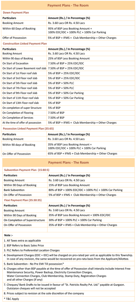 Central Park 3 The Room Studio Apartments Payment Plan Sector 33 Sohna